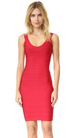 Платье с овальным вырезом Signature Essentials Herve Leger. Цвет: губная помада