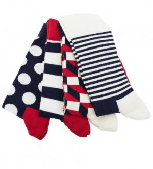 Комплект из четырех пар разноцветных носков Happy Socks. Цвет: синий