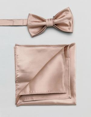 Devils Advocate Розовый атласный галстук-бабочка и платок для пиджака. Цвет: розовый