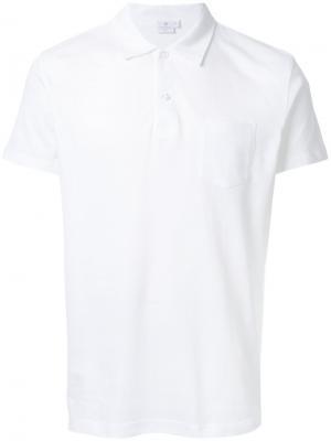 Классическая футболка-поло Sunspel. Цвет: белый