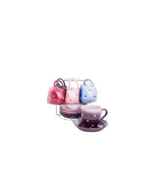 Чайный набор из керамики на 6 персон HOFFMANN. Цвет: морская волна, сиреневый, лиловый, малиновый