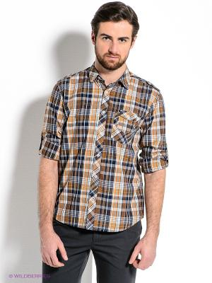 Рубашка Mavango. Цвет: синий, горчичный, белый