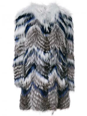 Полосатая шуба из меха лисы и сурка Yves Salomon. Цвет: многоцветный