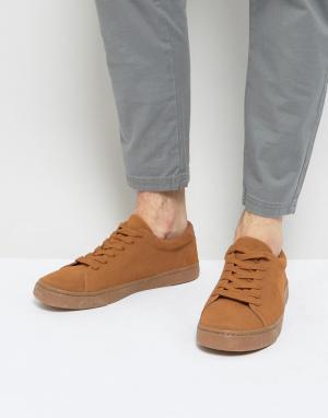 ASOS Светло-коричневые замшевые кроссовки на шнуровке. Цвет: рыжий