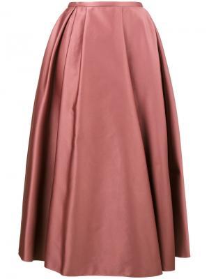 Атласная плиссированная юбка Rochas. Цвет: розовый и фиолетовый