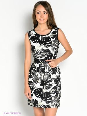 Платье Oodji. Цвет: черный, желтый, белый