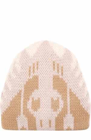 Вязаная шапка из шерсти Tak.Ori. Цвет: бежевый