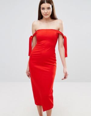 Lavish Alice Платье-бандо миди с завязками. Цвет: красный