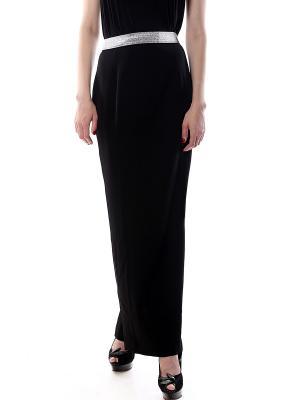 Юбка из черной костюмной ткани стрейч на широкой черно-серебряной резинке, длинная разрез сзади SEANNA
