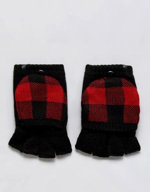 Plush Варежки на флисовой подкладке с накладками для сенсорных гаджетов Plus. Цвет: черный