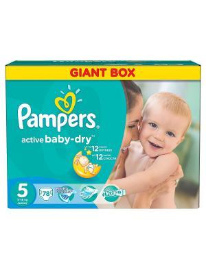 Подгузники Active Baby-Dry 11-18 кг, 5 размер, 78 шт. Pampers. Цвет: зеленый