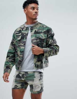 SikSilk Обтягивающая джинсовая куртка без воротника с камуфляжным принтом SikS. Цвет: зеленый