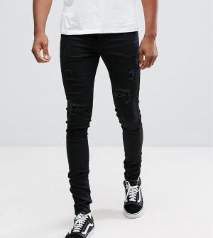 Sixth June Skinny Fit Jeans In Black With Distressing exclusive to ASO. Цвет: черный