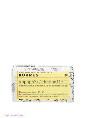 Мыло для лица с ромашкой Korres. Цвет: белый, желтый