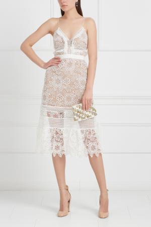 Кружевное платье Self-Portrait. Цвет: белый, кремовый