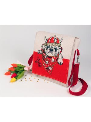 Набор для шитья и вышивки текстильная сумка- планшет Викинг Матренин Посад. Цвет: красный, серый