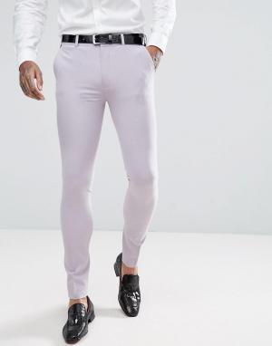 ASOS Дымчато-лиловые супероблегающие брюки под смокинг. Цвет: фиолетовый