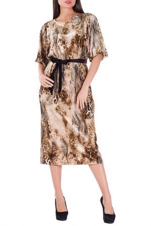 Платье Mannon. Цвет: бежево-коричневый