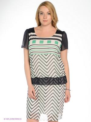Платье Gemko plus size. Цвет: зеленый, молочный, темно-синий