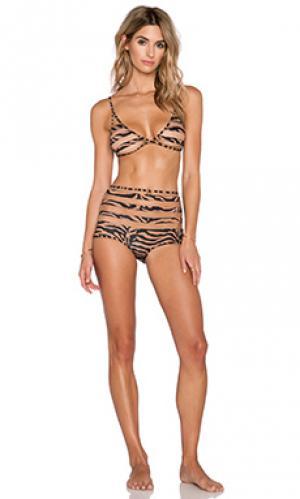 Раздельный купальник бикини с отделкой тюлем и зебровым принтом ADRIANA DEGREAS. Цвет: коричневый