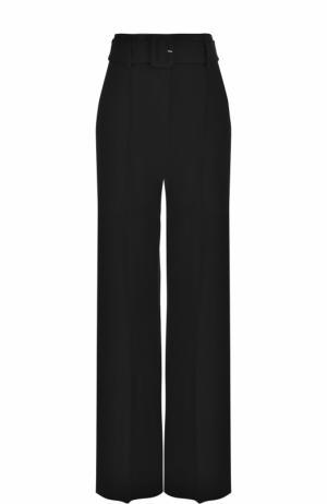 Шерстяные расклешенные брюки с поясом Theory. Цвет: черный