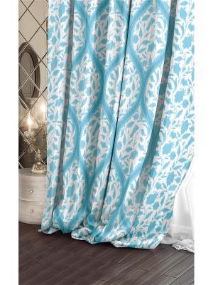 Штора (1 шт.), Волшебная ночь, 220*270см., ткань-Сатен, стиль-Версаль, дизайн-Candy ночь. Цвет: голубой, белый