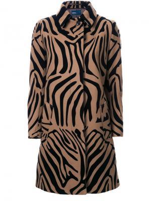Пальто с зебровым принтом Kolor. Цвет: коричневый