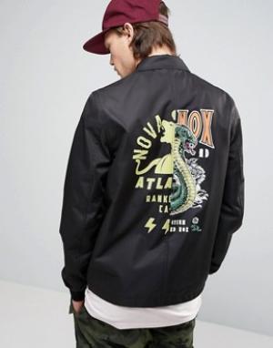 ASOS Черная спортивная куртка с принтом на спине. Цвет: мульти