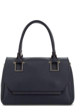 Кожаная сумка с широким плечевым ремнем Gironacci. Цвет: синий