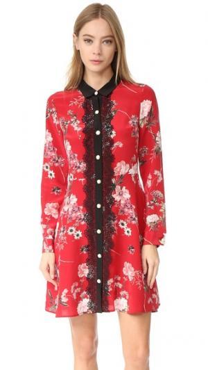 Кружевное платье с спереди цветочным рисунком воротником The Kooples. Цвет: красный