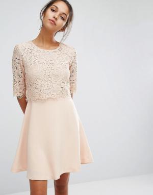 Suncoo Кружевное платье. Цвет: розовый
