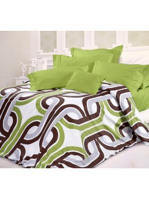 Комплект постельного белья Евро сатин Антуан Унисон. Цвет: белый, салатовый