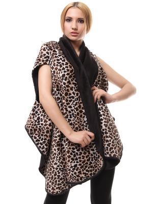 Кардиган-накидка-жилет безразмерный двусторонний Леопард SEANNA. Цвет: коричневый