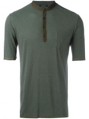 Рубашка-поло в полоску Roberto Collina. Цвет: зелёный