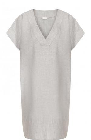 Сорочка из смеси хлопка и льна Zimmerli. Цвет: серый