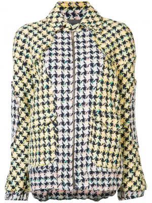Объемная куртка-бомбер Les Animaux. Цвет: жёлтый и оранжевый