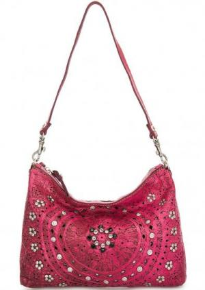 Кожаная сумка с перфорацией Campomaggi. Цвет: фуксия