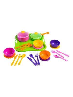 Набор посуды столовый Ромашка 25 эл. ТИГРЕС. Цвет: синий, зеленый, фиолетовый, розовый, желтый