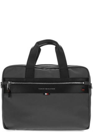 Текстильная сумка через плечо с короткими ручками Tommy Hilfiger. Цвет: серый