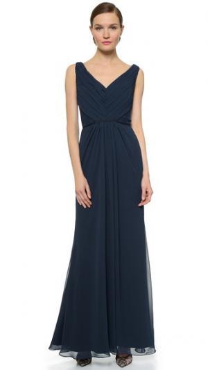 Плиссированное вечернее платье с кружевной отделкой Monique Lhuillier Bridesmaids. Цвет: темно-синий