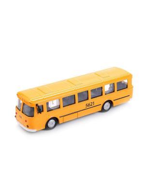 Автобус металлический инерционный 15см, открывающиеся двери. Технопарк. Цвет: оранжевый