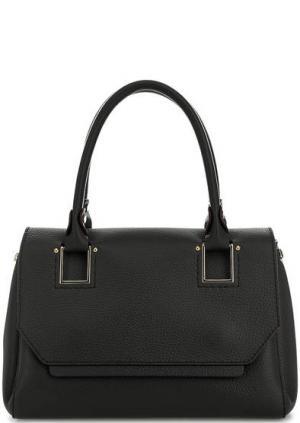 Кожаная сумка с широким плечевым ремнем Gironacci. Цвет: черный