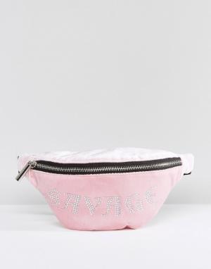 Skinnydip Розовая сумка-кошелек на пояс из бархата. Цвет: розовый