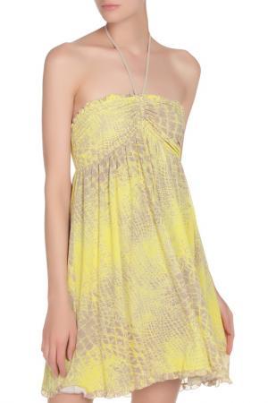 Платье с завязкой на шее Fisico. Цвет: желтый