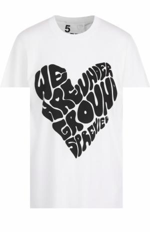 Хлопковая футболка с круглым вырезом и принтом 5PREVIEW. Цвет: белый