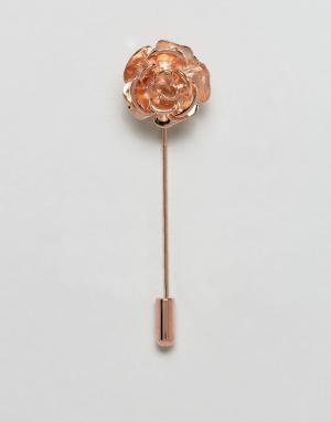 ASOS Булавка на лацкан из латуни с розой. Цвет: розовый