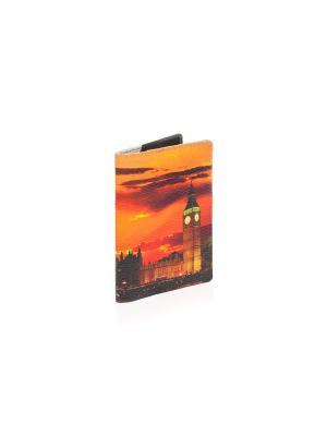 Обложка на паспорт с кожаной вставкой Лондон, закат Eshemoda. Цвет: оранжевый