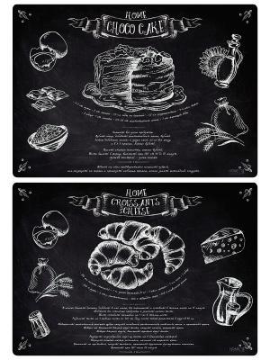 Набор пластиковых салфеток KITCHEN AUTHOR, Шоколадный торт, Круассаны с сыром Art Blanche. Цвет: черный