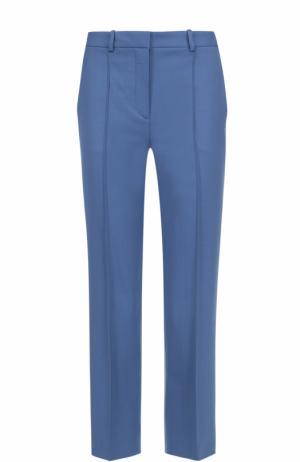 Укороченные брюки прямого кроя со стрелками Theory. Цвет: голубой