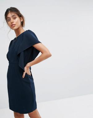 Closet London Платье миди. Цвет: темно-синий